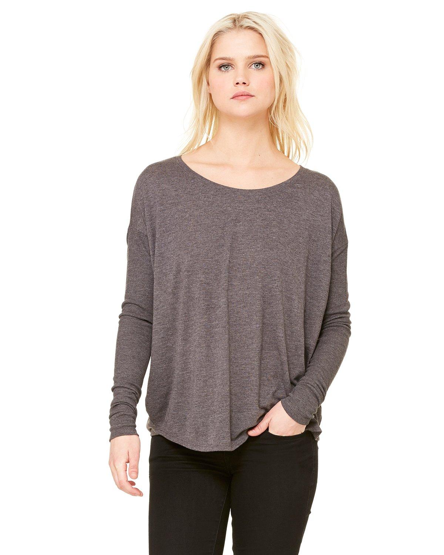 Bella womens Flowy Long-Sleeve T-Shirt with 2x1 Sleeves(8852)-DRK GREY HEATHER-L