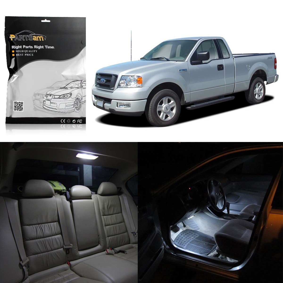 Partsam 10 White Interior LED Light Package Kit for Ford F-150 2004 2005 2006 2007 2008 2009 2010 2011 2012 with Tool Kit