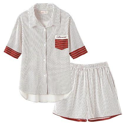 Pijamas camisón Ropa de casa señoras Trajes de Verano Pijamas de algodón Cardigans Trajes de Dos
