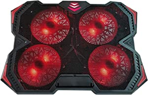 Laptop Cooler Cooling pad 4 Fans Laptop Cooling Pad for 12-17 Inch Laptop Cooler Pad with LED Light Dual USB 2.0 Ports Adjustable Bracket (Blue/Red) Notebook Cooler (Color : Red)