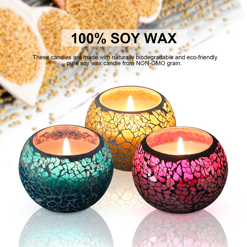 Scented Candle Gift set Soy Wax Candle 3 Pack of Lavender Rose and Lemon Travel Candle, Natural Vegan Travel Tin of 3 x 4.4 Oz 100% Natural Soy Glass Candles, Suitable for Birthday Bath Aromatherapy Weddings Yoga Christmas