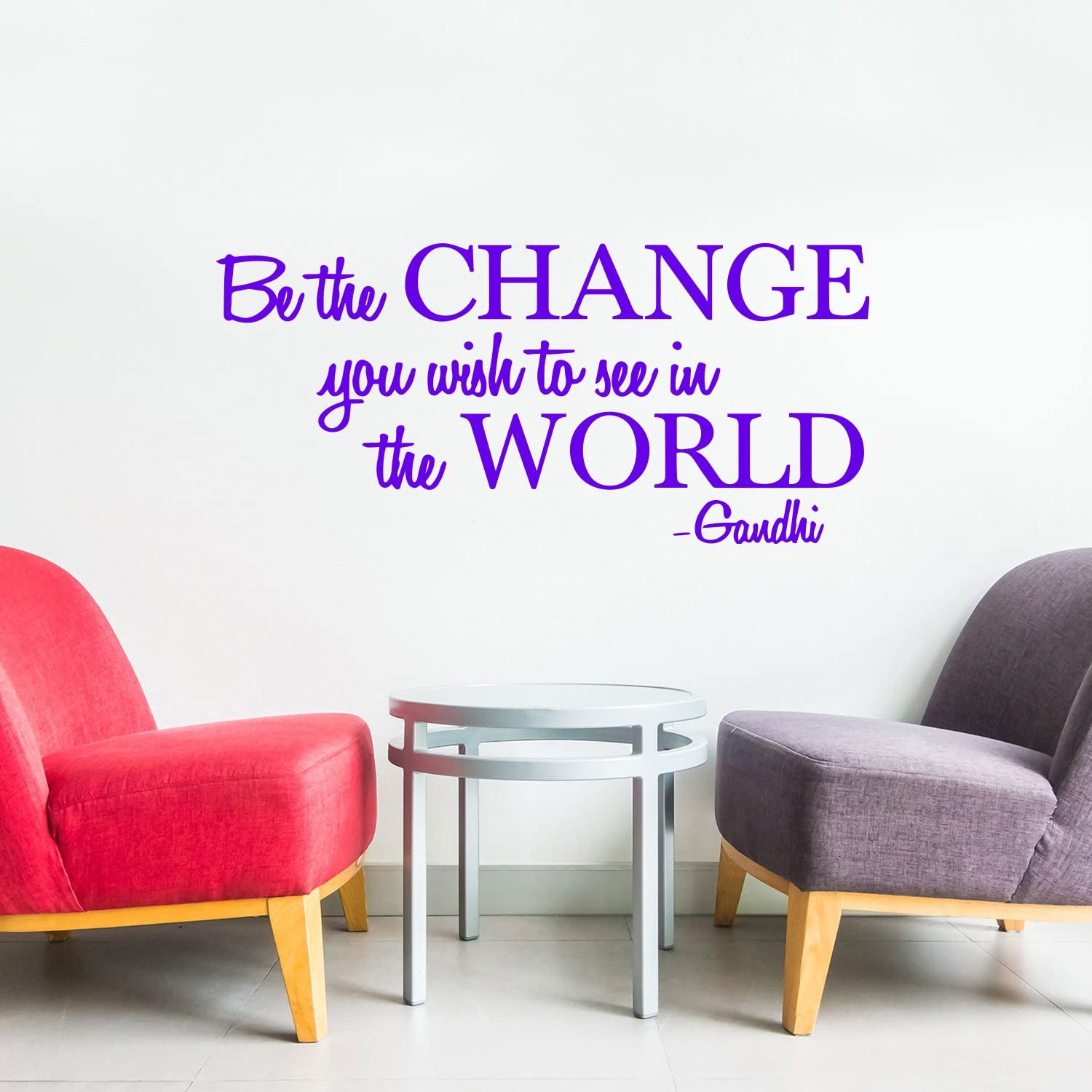 """Be The Change You Wish to See in The World Inspirational Gandhi Quote 18/"""" x 36/"""" Living Room Wall Art Decor Purple, 18 x 36 Motivational Work Quote Peel and Stick Vinyl Wall Decal Sticker"""