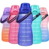 Giotto Large Half Gallon/64OZ Motivational Water Bottle with Paracord Handle & Straw - Leakproof Tritan BPA Free Fitness Spor