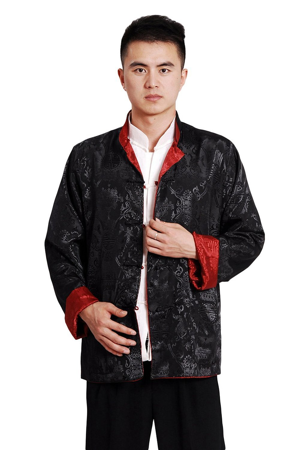 AvaCostume Men's Chinese Tang Suit Reversible Kung Fu Blouse Coat Medium Black Red