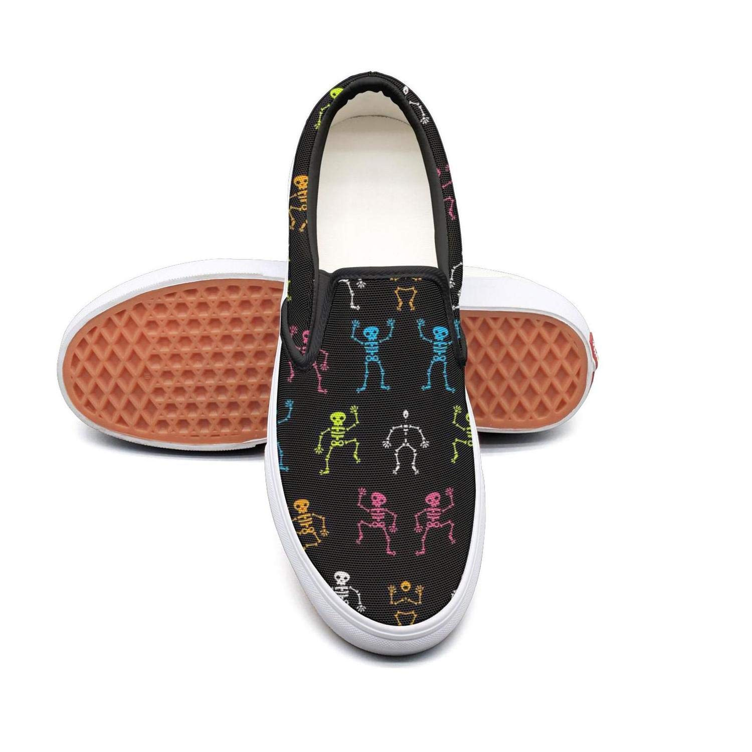 Back to School Music Skull Slip On Superior Comfort Loafers Canvas Shoes for Women Comfortable