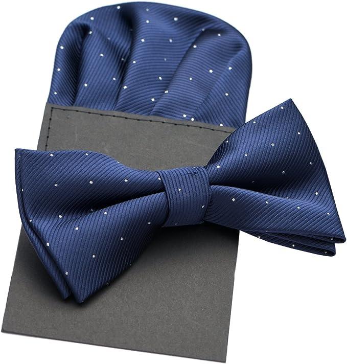 PenSee Mens Polka Dot Silk Pre-tied Bow Tie /& Hankerchief /& Cummerbund Colors /&
