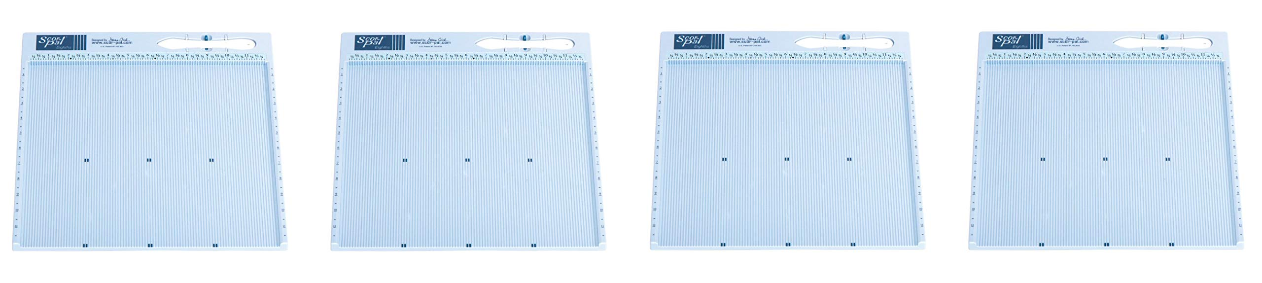 Scor-Pal SP108 Eighths Measuring and Scoring Board, 12'' by 12'', 1/8'' Space Grooves (4-(Pack))