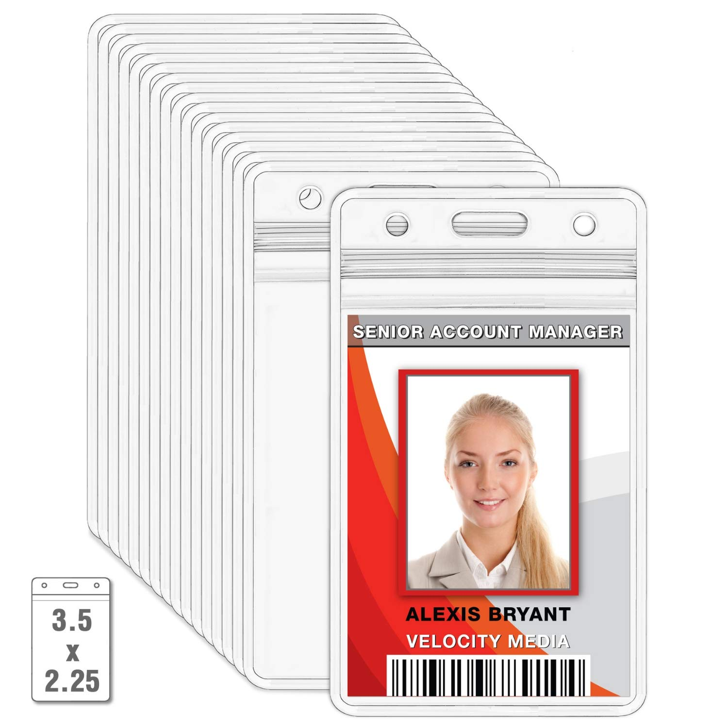 MIFFLIN Plastic Waterproof ID Badge Holders (Clear, 3.6x2.4 inch, 100 Pack), Vertical Hanging Card Holder with Zipper, Resealable Bulk Nametag Holders by MIFFLIN