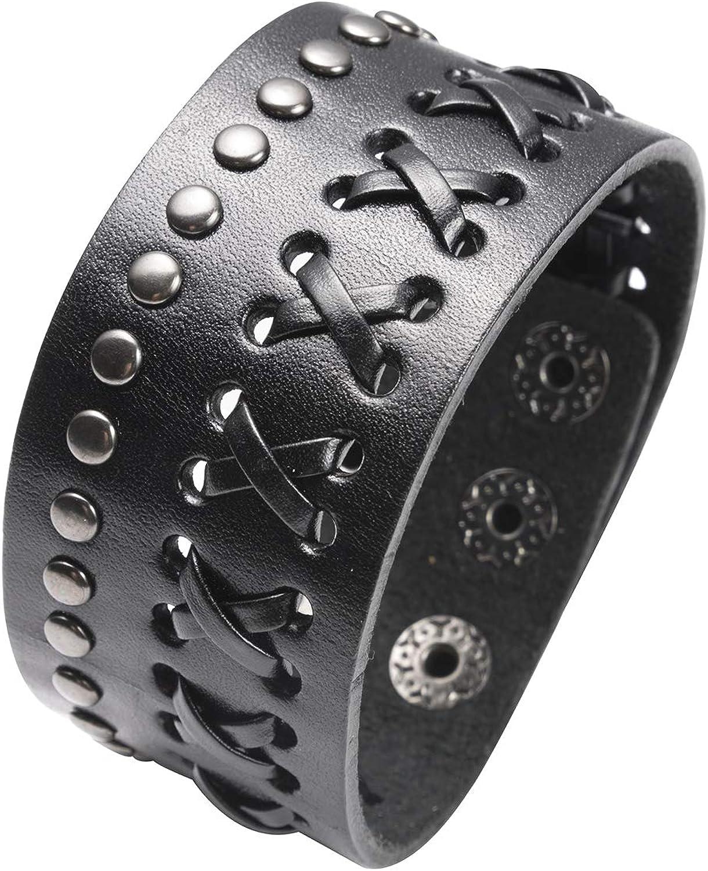 Herren Punk Leder Wrap geflochtenes Armband Manschette Punk Armreif Armband T6J2
