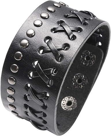 Double Wrap Leather Bracelet Rock /'n/' Roll Chic Leather Bracelet Studded Bracelet Punk Rock Biker Bracelet Buckle Bracelet