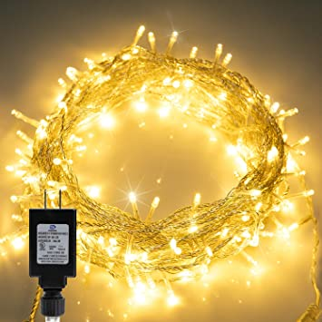 66FT 200 LED Christmas Tree Lights Warm White Twinkle Fairy Lights String in Clear Wire for Indoor Bedroom Outdoor Christmas Trees Garland Wreath Holiday Decorations