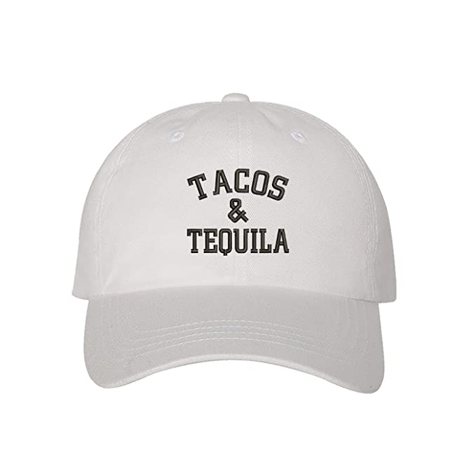 a258a9ad103 Prfcto Lifestyle Tacos   Tequila Dad Hat - Drinking White Baseball Hat -  Unisex