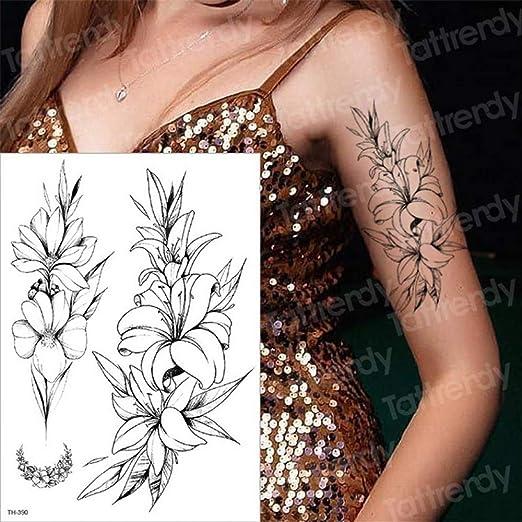 tzxdbh 3pcs-Negras Mangas del Tatuaje de Flores temporales del ...