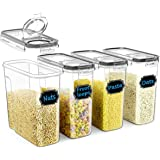 Cereal Container Set, Wildone Food Storage Containers [Set of 4] Large Airtight Storage Keeper 4L(135.2oz), Leak-proof…
