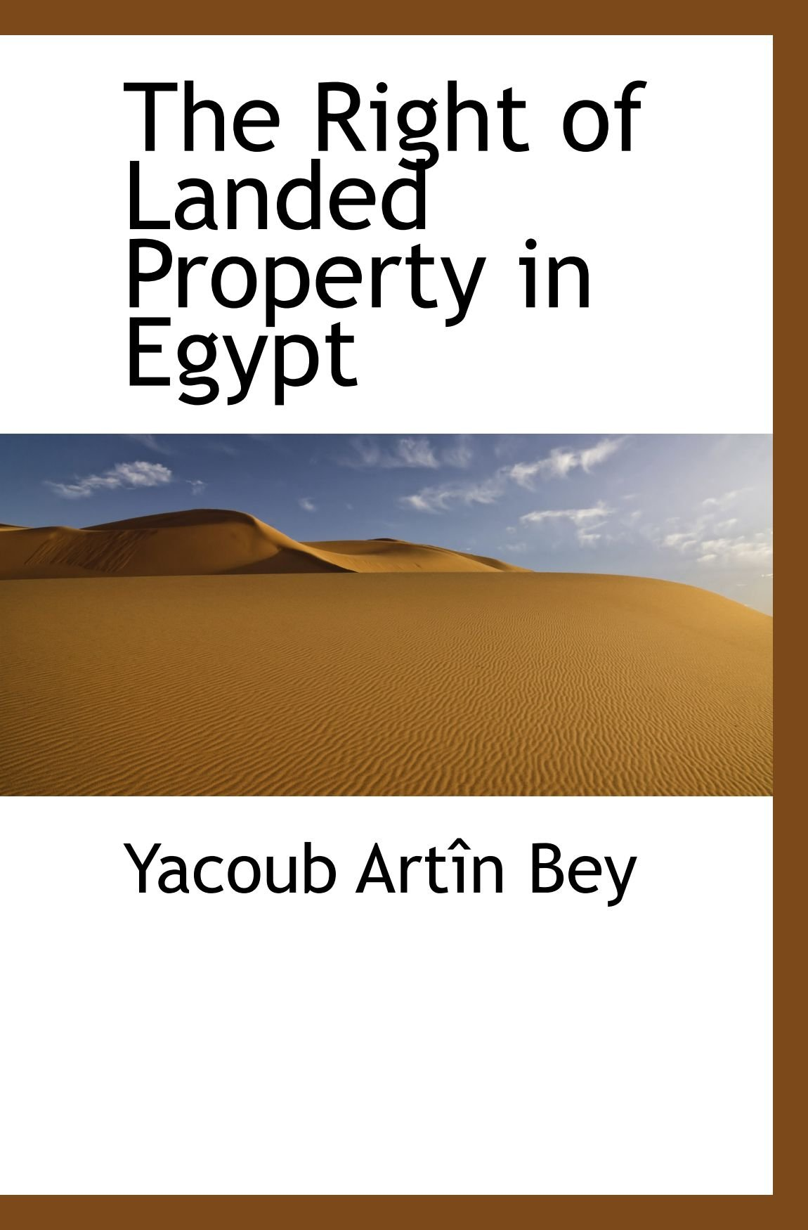 Read Online The Right of Landed Property in Egypt ebook