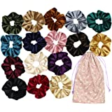 Velvet Hair Scrunchies Set, Large Elastic Bobble Hair Ties, Soft Hair Bands with Pouch Bag for Thick Curly Hair and Straight Hair, 16 Colors