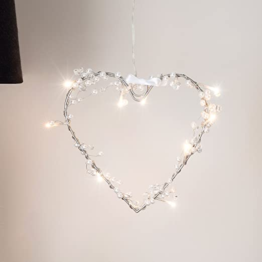 newest 58dc4 044d0 Battery Operated Heart Fairy Light Wreath with 10 Warm White LEDs by  Lights4fun