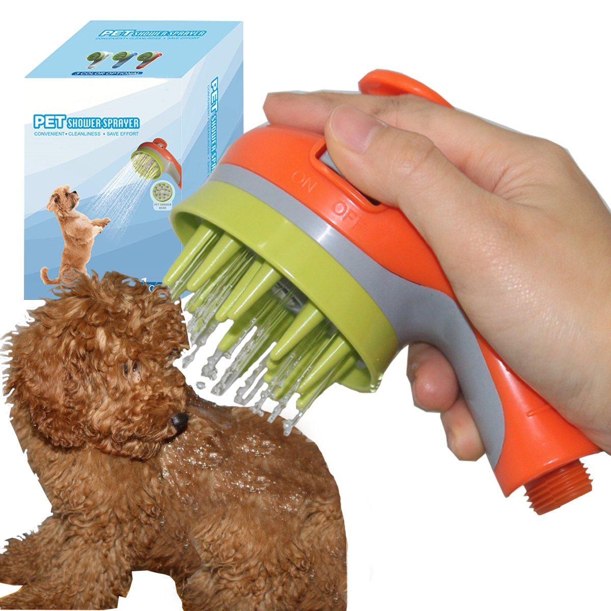 Aopet Dog Shower Sprayer Head 3 in 1 Pet Comb Massage Brush Dogs Cats Horse Grooming Bathing Tool Shower Attachment for Indoor & Outdoor Compatible with Universal Hose