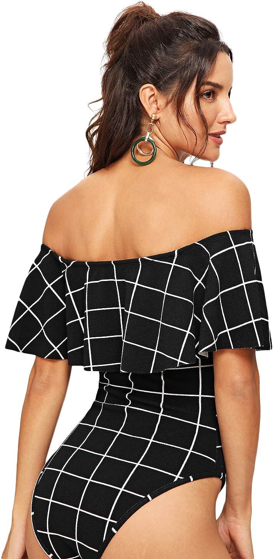 DIDK Womens Ruffle Layered Neck Plaid Bodysuit