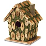Gifts & Decor Moss Edged Wood Outdoor Yard Hanging Wooden Bird House