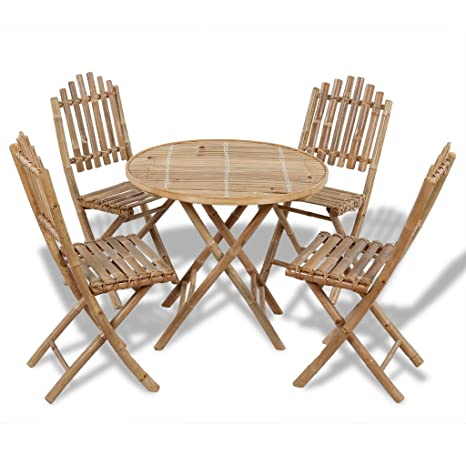 Anself Set Plegable de Bambú con Una Mesa y 4 Sillas: Amazon ...
