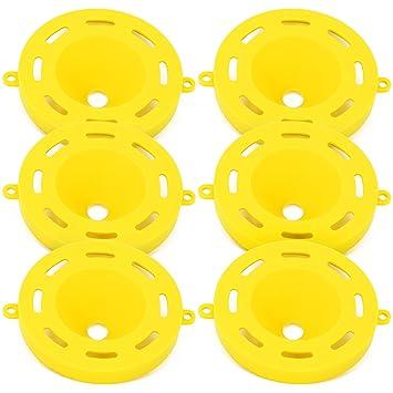 com-four® 6X Bandeja para Insectos Hecha de plástico, Avispas, Moscas y Trampa para Avispas para Exteriores e Interiores (06 Piezas - Amarillo Ø 7,7 x ...