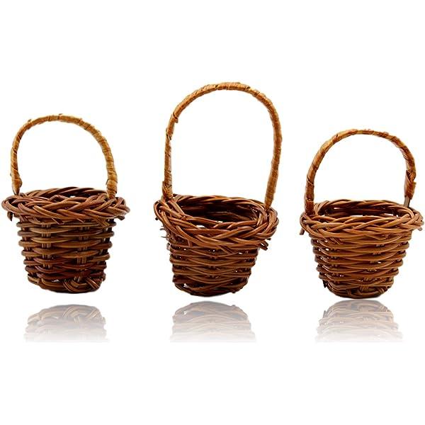 Dollhouse Miniature Handmade 10 Small Round Wicker Basket Supply Charms 8049