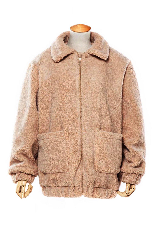 Kooosin Women's Warm Fluffy Long Sleeve Faux Shearling Zip Fastening Winter Coat Plus Size (DK070-M, Camel) by Kooosin (Image #3)