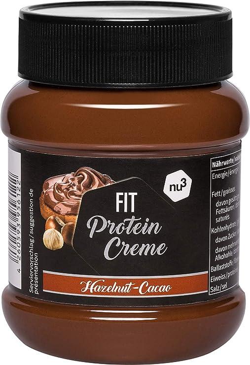 nu3 Fit Protein Creme - 400g Crema de chocolate y avellanas - Sin aceite de palma ni gluten - 90% menos azúcar - 21% de proteína - Excelente alternativa fitness baja en