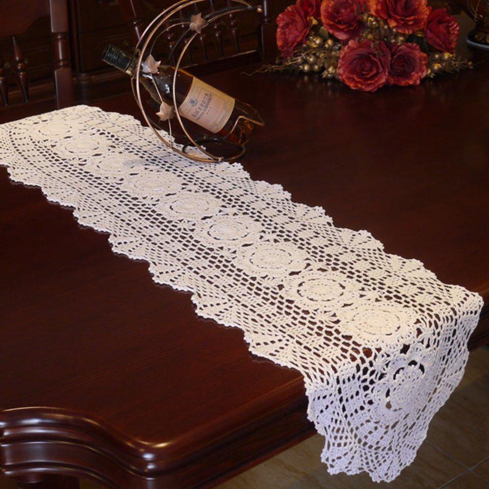 Yazi Oval tapetes para la mesa Vintage hueca de sof/á cubierta de servilleta algod/ón para boda Party Decor Blanco 30/x 90/cm