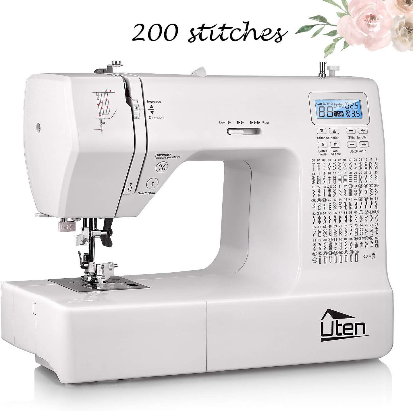 Uten - Máquina de coser computarizada electrónica con 200 puntadas ...
