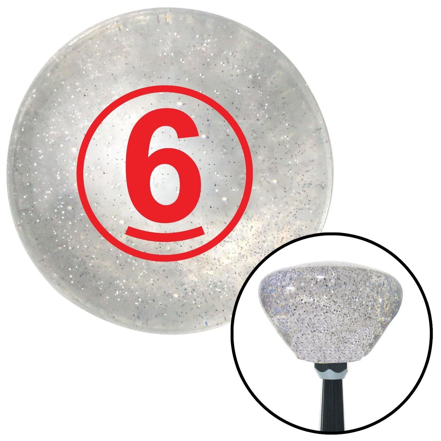 Red Ball #6 American Shifter 160202 Clear Retro Metal Flake Shift Knob with M16 x 1.5 Insert
