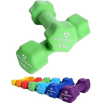 Pesas de neopreno »Lire« / Mancuernas disponibles en diferentes pesos y colores / 1,5 kg, verde: Amazon.es: Deportes y aire libre