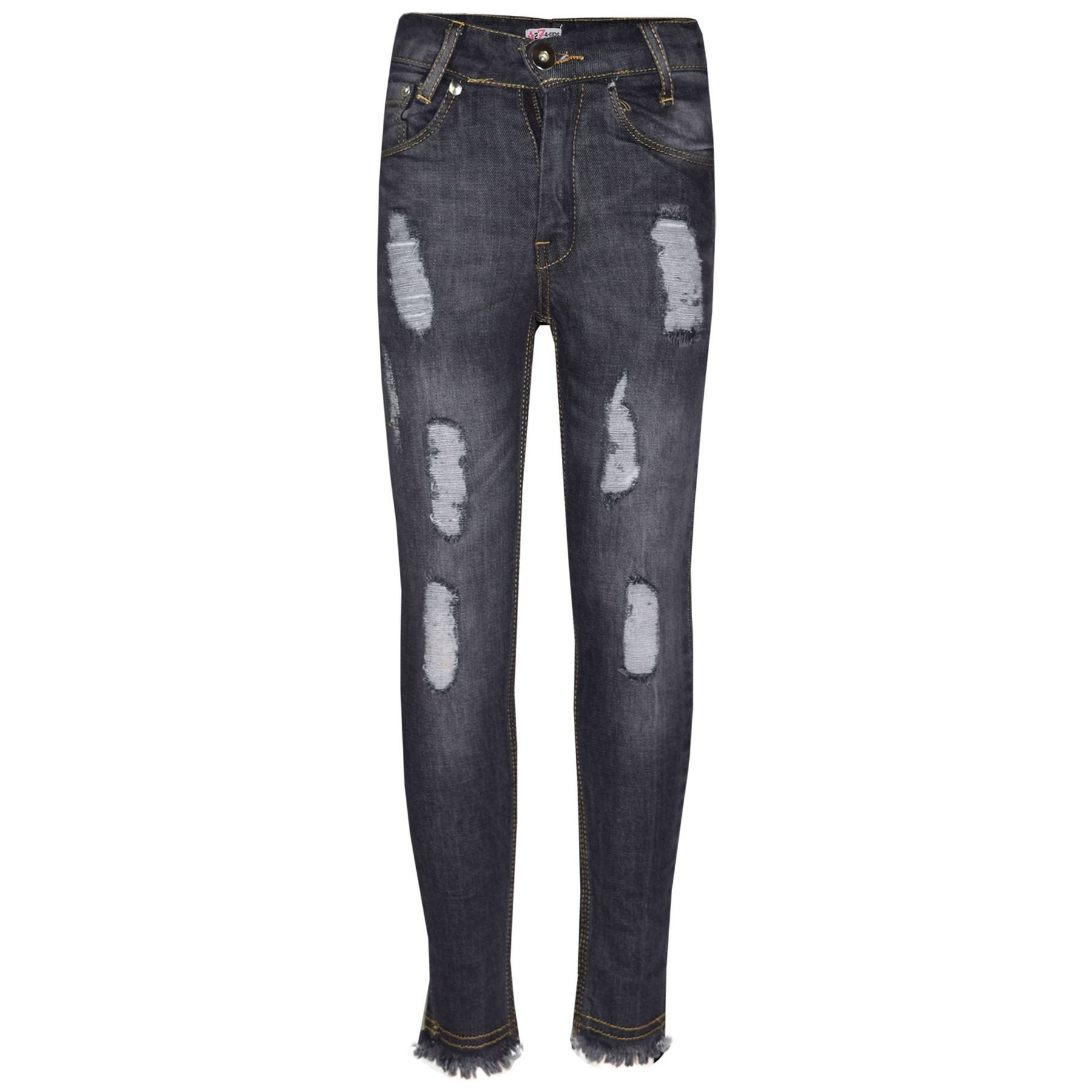 Girls Skinny Jeans Kids Stretchy Denim Ripped Rough Pants Trousers Jeggings 5-13 by A2Z 4 Kids (Image #1)