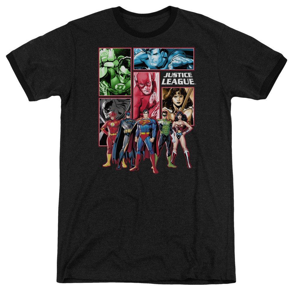Justice League Panels Adult Ringer T Shirt S Sons of Gotham JLA