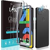[2+3 Pack] L1K Screen Protector voor Google Pixel 4a 4G 5.8 inch met 2 Pack gehard glas en 3 Pack Camera Lens Protector…