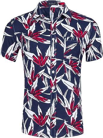 Idgreatim - Camisa hawaiana para hombre, manga corta, estampado floral, estilo casual, con botones: Amazon.es: Ropa y accesorios