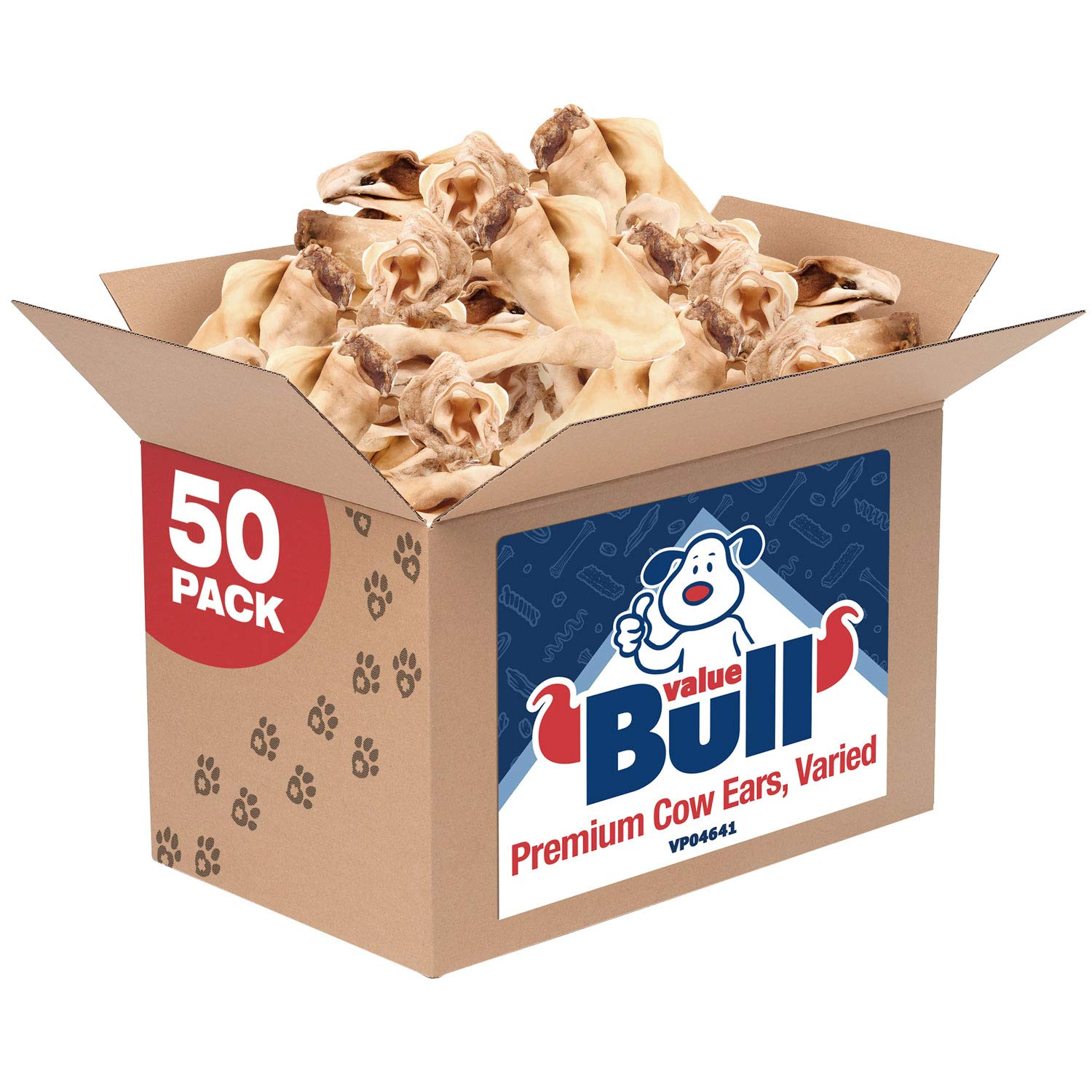 ValueBull Premium Cow Ears, Varied Sizes/Shapes, 50 Count - Angus Beef Dog Chews, Grass-Fed, Single Ingredient by ValueBull