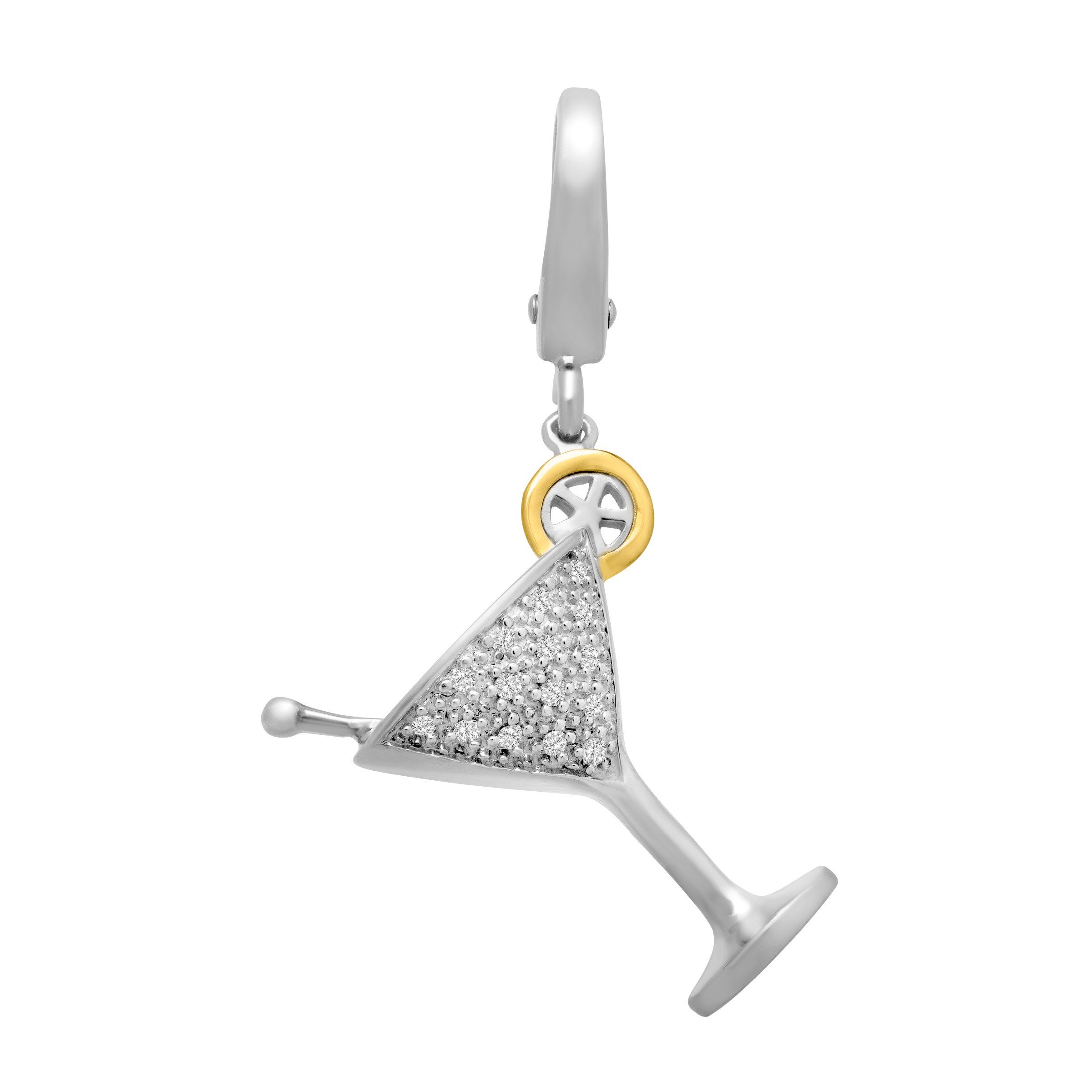 Martini Charm with Diamonds in Sterling Silver & 14K Yellow Gold