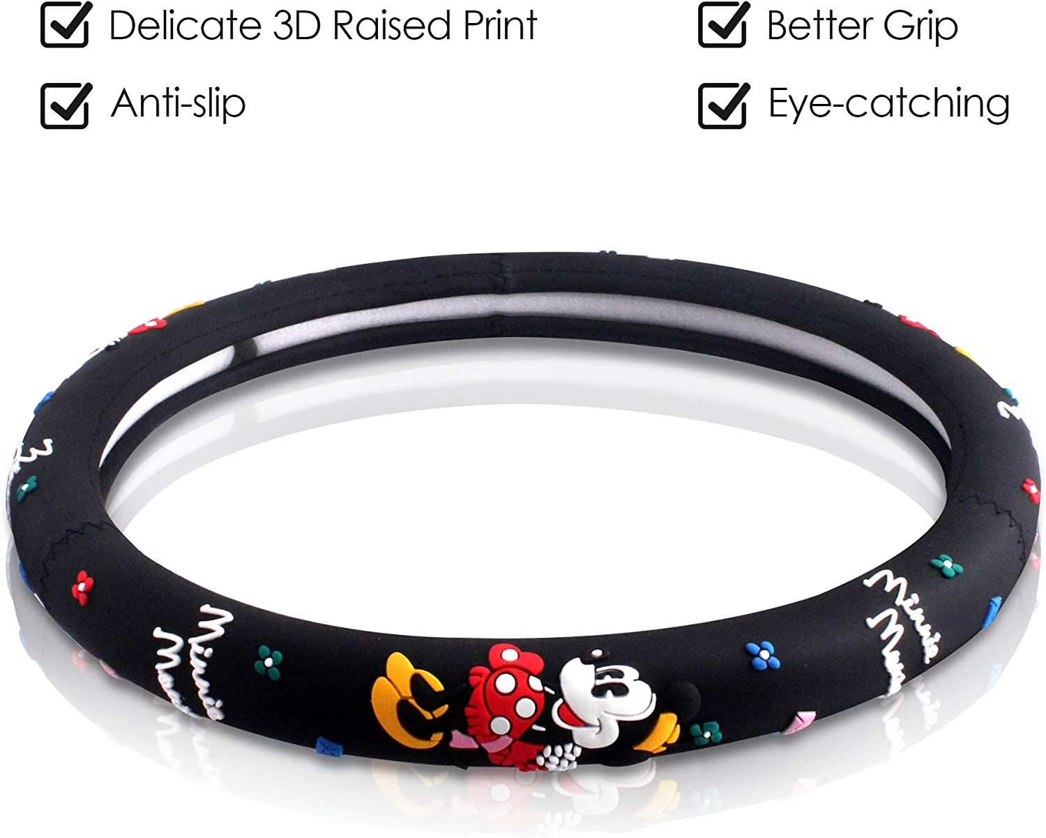 Universal Fit FINEX Silicone Minnie Mouse Auto Car Steering Wheel Cover Black
