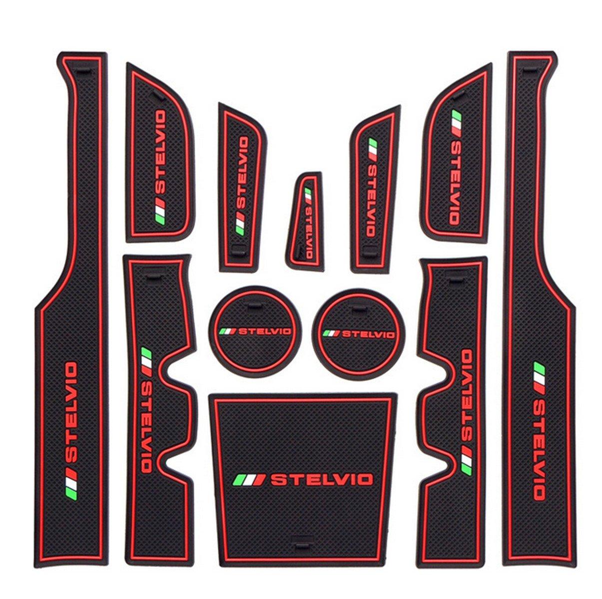 Yuwaton Fit for Alfa Romeo Stelvio Interior Accessories Suspension Non-Slip Silicone Mat Cup Mat Storage Box Mat (red)