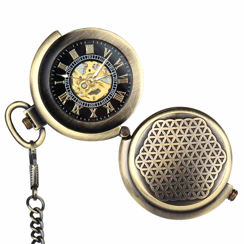 Vintage Full Hunter Pocket Watch Steampunk Skeleton Mechanical Hand Wind for Men with Chain + Box