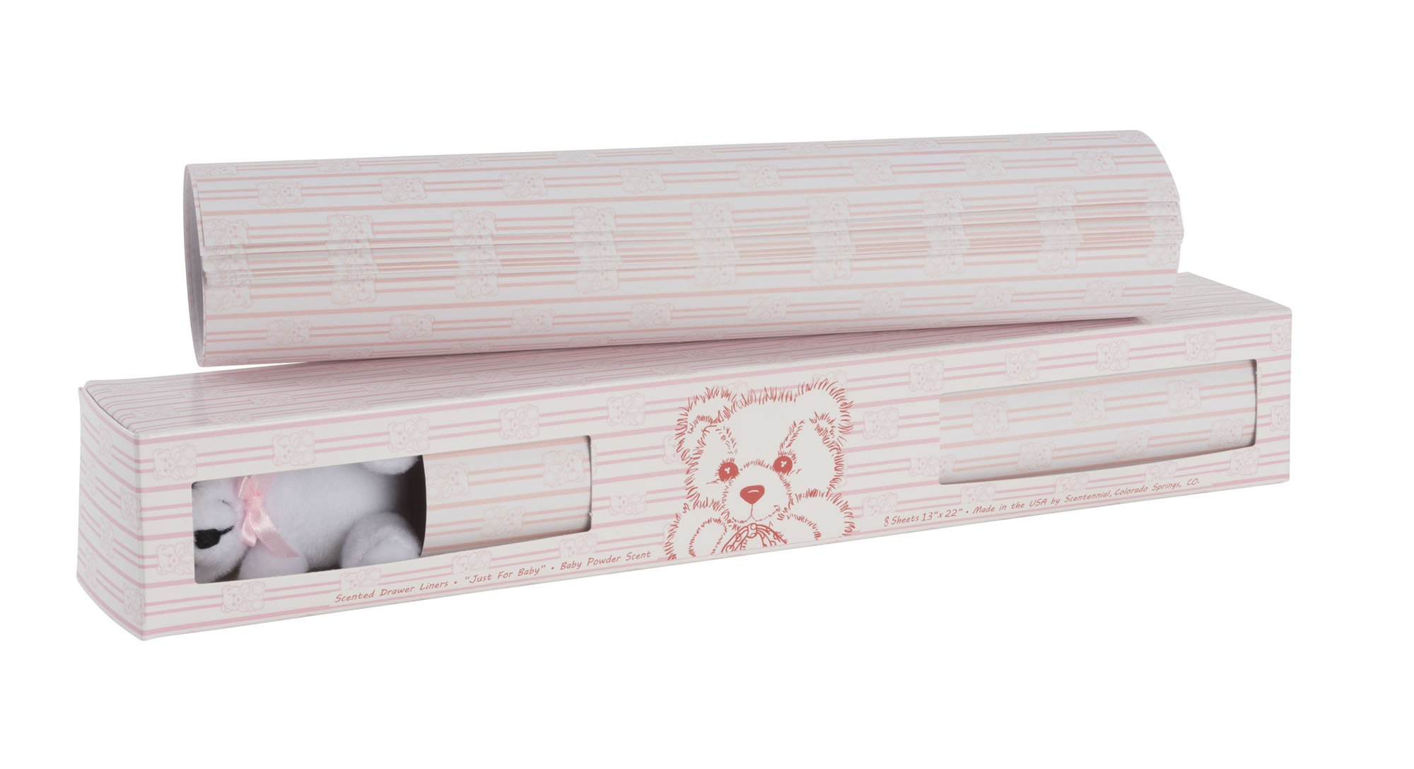 Scentennials BABY ORIGINAL PINK WITH TEDDY BEAR (8 SHEETS) Scented Fragrant Shelf & Drawer Liners 13'' x 22'' - Great for Nursery Dresser, Bathroom, Vanity & Linen Closet