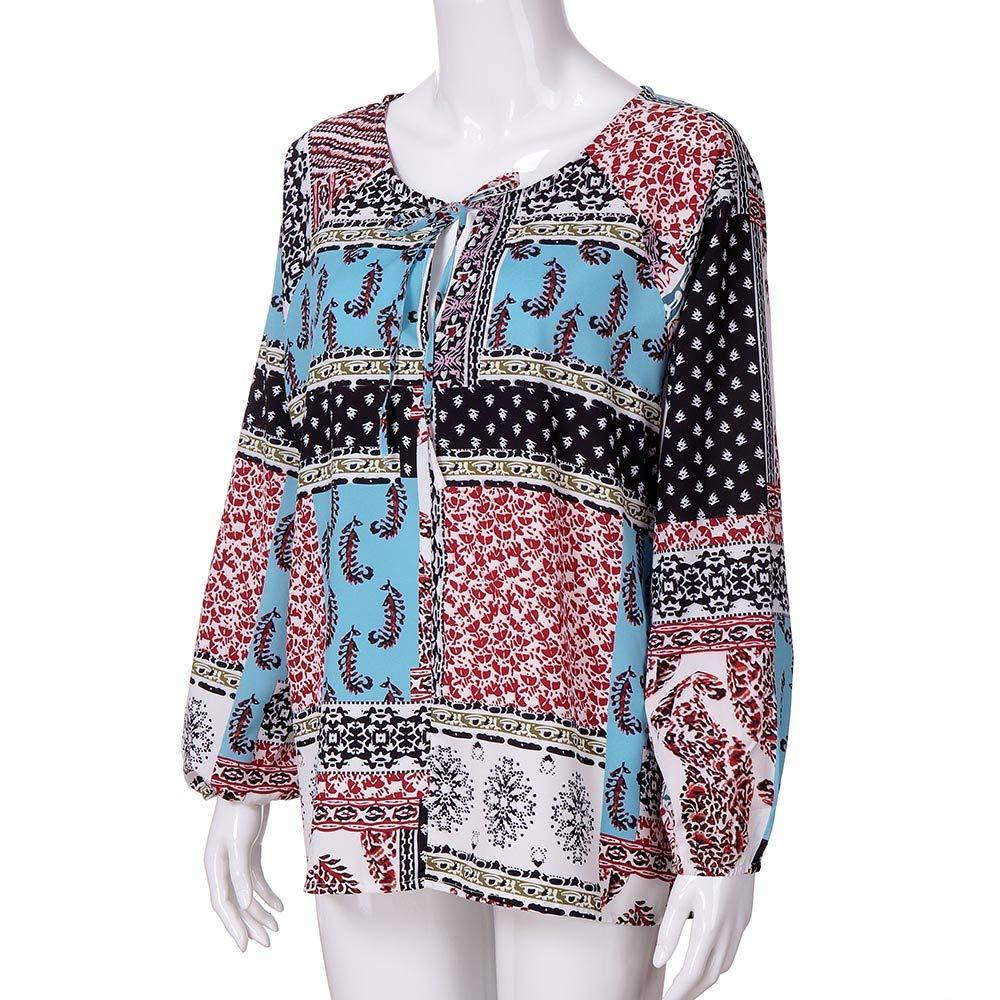 Blusa con Cuello de Pico para Mujer, Estampado Floral de Manga Larga Camisetas para Mujer Tops Casuales ❤ Manadlian: Amazon.es: Ropa y accesorios