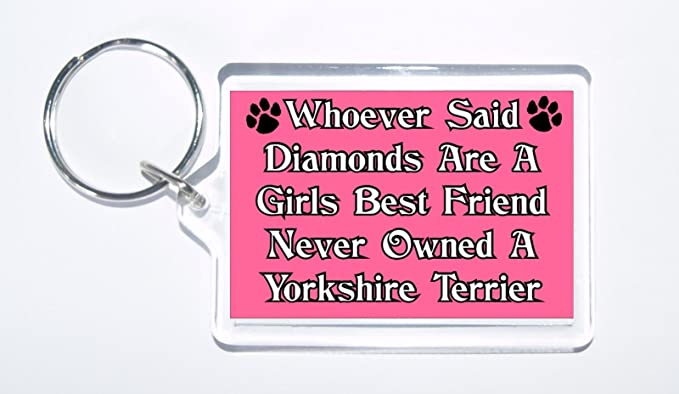 Whoever Said Diamonds Girls Best Friend Never Owned a Yorkie Keyring Ideal Gift