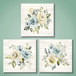 Floral Canvas Painting Wall Art: Yellow & Blue Roses Pictures Flower Artwork for Bedroom (12'' x 12'' x 3 Panels)