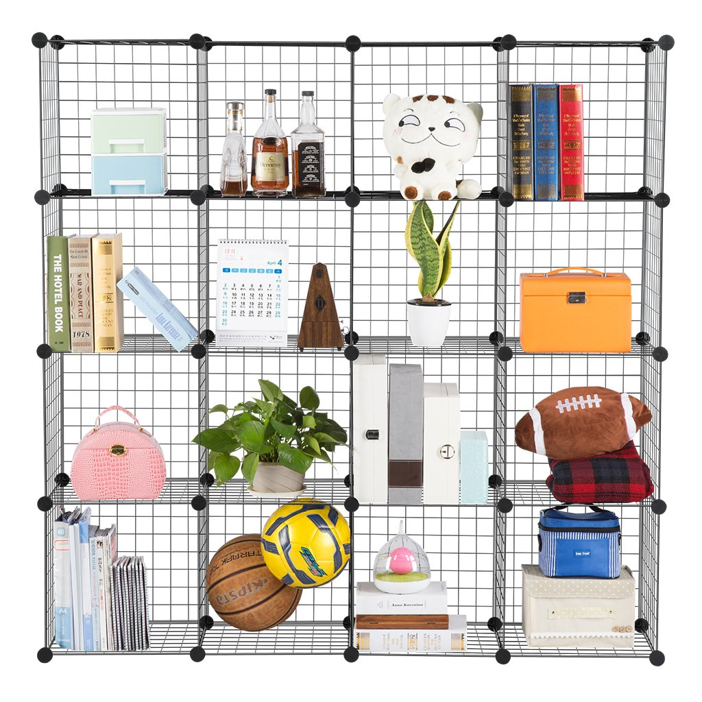 Metal Wire Storage Cubes Modular Shelving Grids Cabinet Closet Organizer 16  Cube