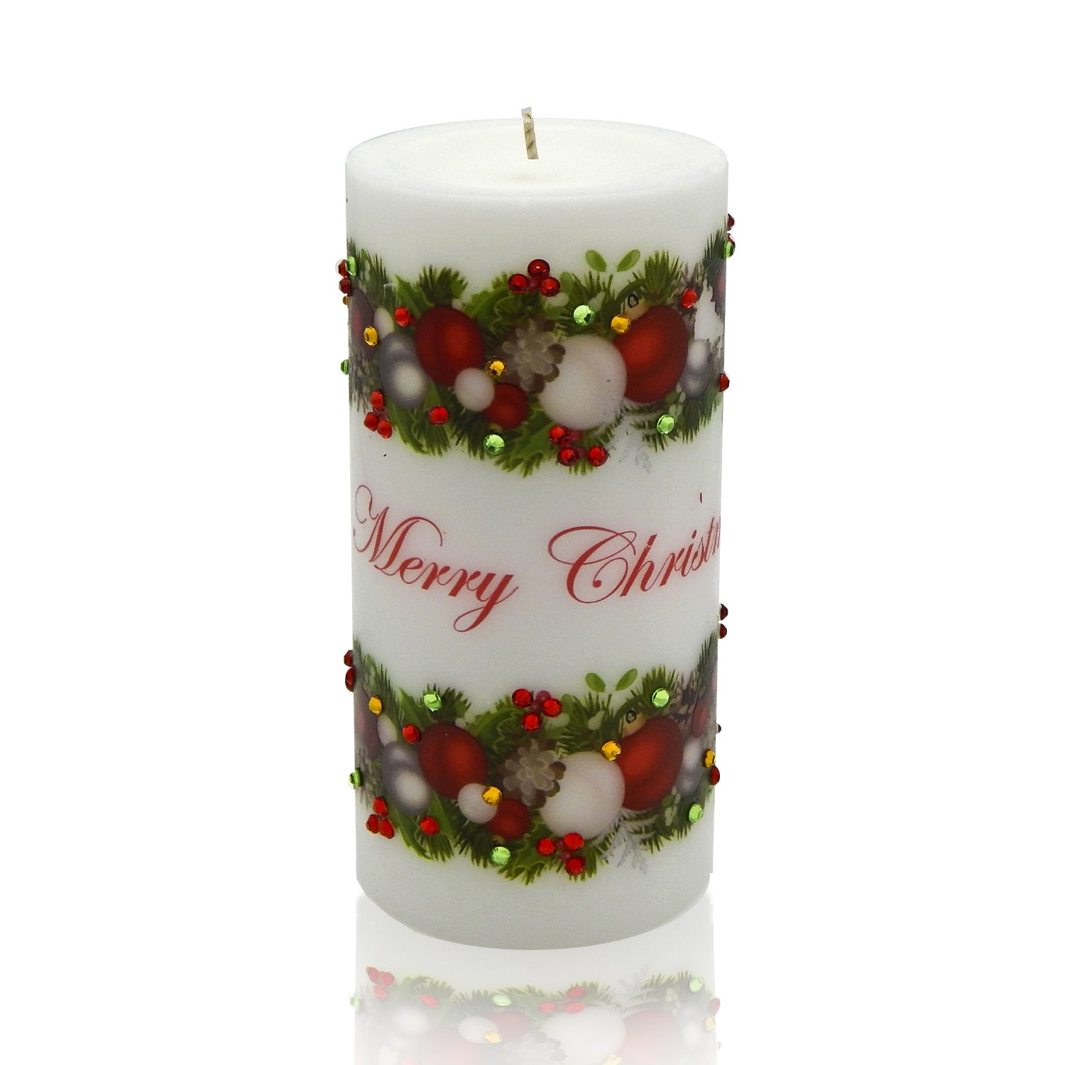 Sam & Wishbone Christmas Home Decoration Luxury Unscented Handmade Pillar Candle Gift, Ornament from the Happy Holidays Collection, White