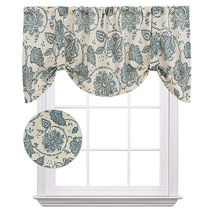 tie up window valance diy tie up valances for kitchen windows jacobean floral printed tieup valance curtains rod pocket amazoncom