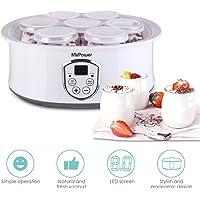 MVPower Yogurtera con Termostato Ajustable y Temporizador, 7 Tarros de 180ml, Máquina para Yogur Natural con Pantalla…